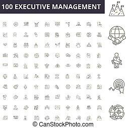 vector, dirección, contorno, conjunto, ejecutivo, iconos, ilustración, concepto, línea, señales