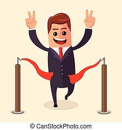 vector, director, o, hombre de negocios, en, fin, línea., un, hombre, en, traje, cruces, el, rojo, ribbon., illustration., caricatura, winner., carácter, ., plano, .
