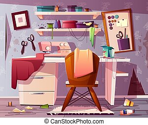 Vector dirty tailor room. Mess in studio. - Vector...