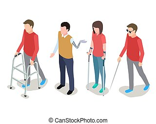 Vector disabled people isometric isolated on white background