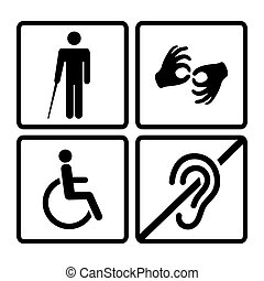 Vector disabled signs with deaf, dumb, mute, blind, ...