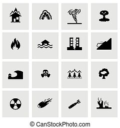 Vector disaster icon set on grey background