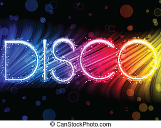 Disco Abstract Colorful Waves on Black Background - Vector...