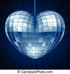Vector Disco Heart. Blue mirror disco ball in the shape of heart