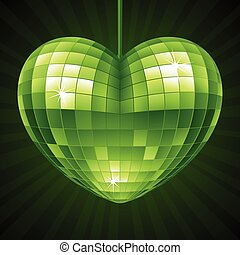 Vector Disco Heart. Green mirror disco ball in the shape of heart