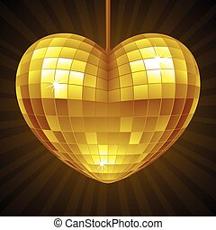 Vector Disco Heart. Yellow mirror disco ball in the shape of heart