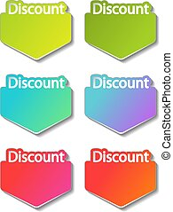 Vector discount banner design. Green, cyan, purple, red, pink and orange special offer banner. Sale offer. Discount label. Discount promotion tag.