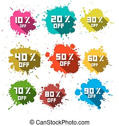 Vector Discount Splashes - Labels Set