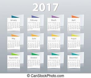 vector, diseño, año civil, 2017, template.