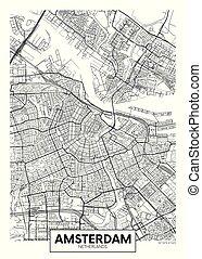 vector, diseño, amsterdam, ciudad, viaje, mapa, cartel