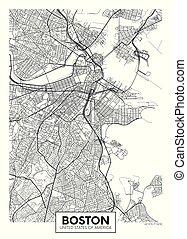 vector, diseño, boston, ciudad, viaje, mapa, cartel