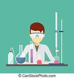 vector, diseño, de, científico, con, químico, titration, equipo
