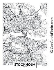 vector, diseño, estocolmo, ciudad, viaje, mapa, cartel