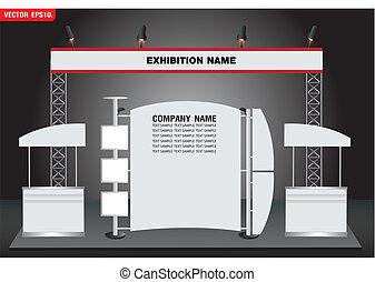 vector, diseño, exposición, cabina