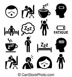 vector, diseño, fatiga, soñoliento, iconos, hombre, cansado...