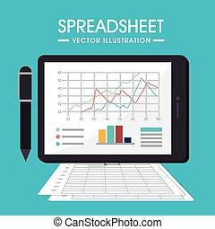 vector, diseño, illustration., hoja de cálculo