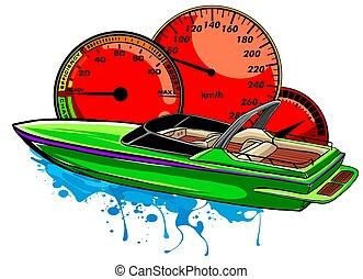 vector, diseño, ilustración, barco, motor, carrera, arte