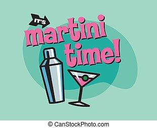 vector, diseño, martini, tiempo