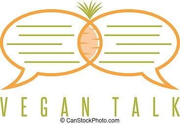 vector, diseño, plantilla, de, alimento sano, charla, concepto