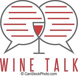 vector, diseño, plantilla, de, vino, charla, concepto