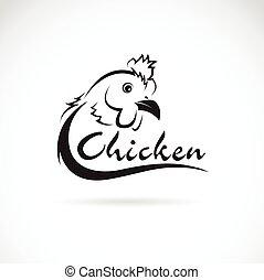 vector, diseño, pollo, es, texto, en, un, blanco, fondo.