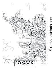 vector, diseño, reykjavik, ciudad, viaje, mapa, cartel