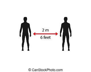 vector, distancia, coronavirus., design., ilustración, plano, social