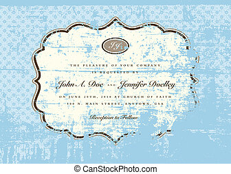 Vector Distressed Blue Pattern and Frame
