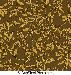 Vector Distressed Brown Fern Pattern