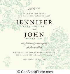 Vector Distressed Damask Pattern for Invitations. Distressed overlay is separated, and easy to edit. Perfect for invitations or announcements.