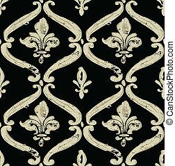 Vector Distressed Fleur De Lys Pattern