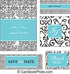 Vector Distressed Floral Wedding Frame Set