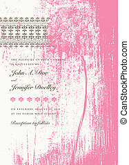 Vector Distressed Pink Bouquet Invitation