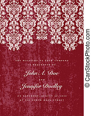 Vector Distressed Red Lace Background. Easy to edit. Perfect for invitations or announcements.