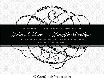 Vector Distressed Swirl Ornament and Frame - Vector ornate...