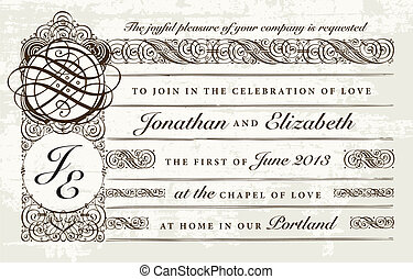 Vector Distressed Victorian Wedding Invitation