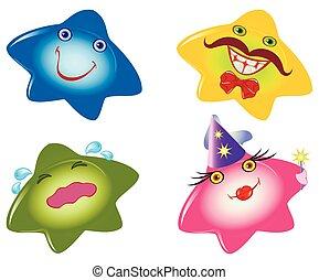 vector, divertido, conjunto, eps10, forma, mood., emociones, stars., smileys, ilustración