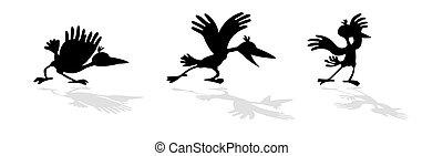vector, divertido, cuervos, silueta