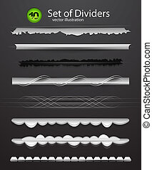 Vector divider set - Abstract collection of dividers ob...