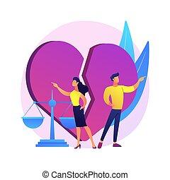 vector, divorcio, illustration., concepto, resumen