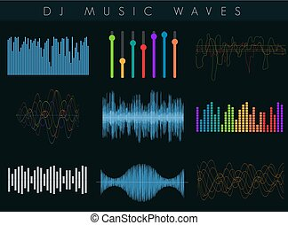 Vector DJ sound waves set. Colorful abstract futuristic equalizer.