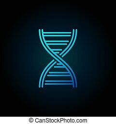 Vector DNA spiral blue outline concept icon