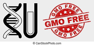 Vector DNA Testtube Icon and Grunge GMO Free Watermark - ...