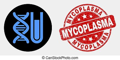 Vector DNA Testtube Icon and Scratched Mycoplasma Watermark...