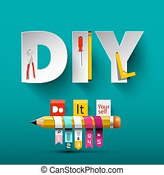 Vector Do it Yourself Design with Paper Cut Letters, Tools...