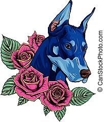 vector Dobermann dog face with red roses