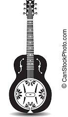 Vector illustration of dobro, american resonator guitar. Black and white resophonic guitar.