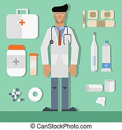 Vector doctor and set of medicine objects