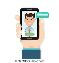 vector, doctor, médico, service., en línea, salud, consulta...