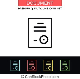Vector document icon. Thin line icon